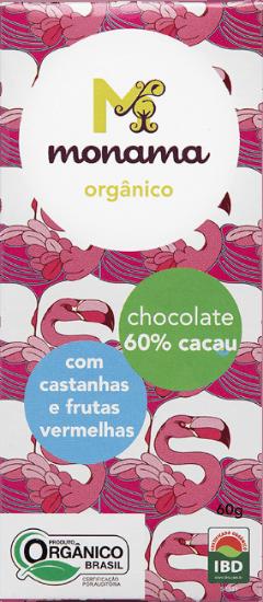 Chocolate 60% C/ Castanha & Frutas Vermelhas 60g