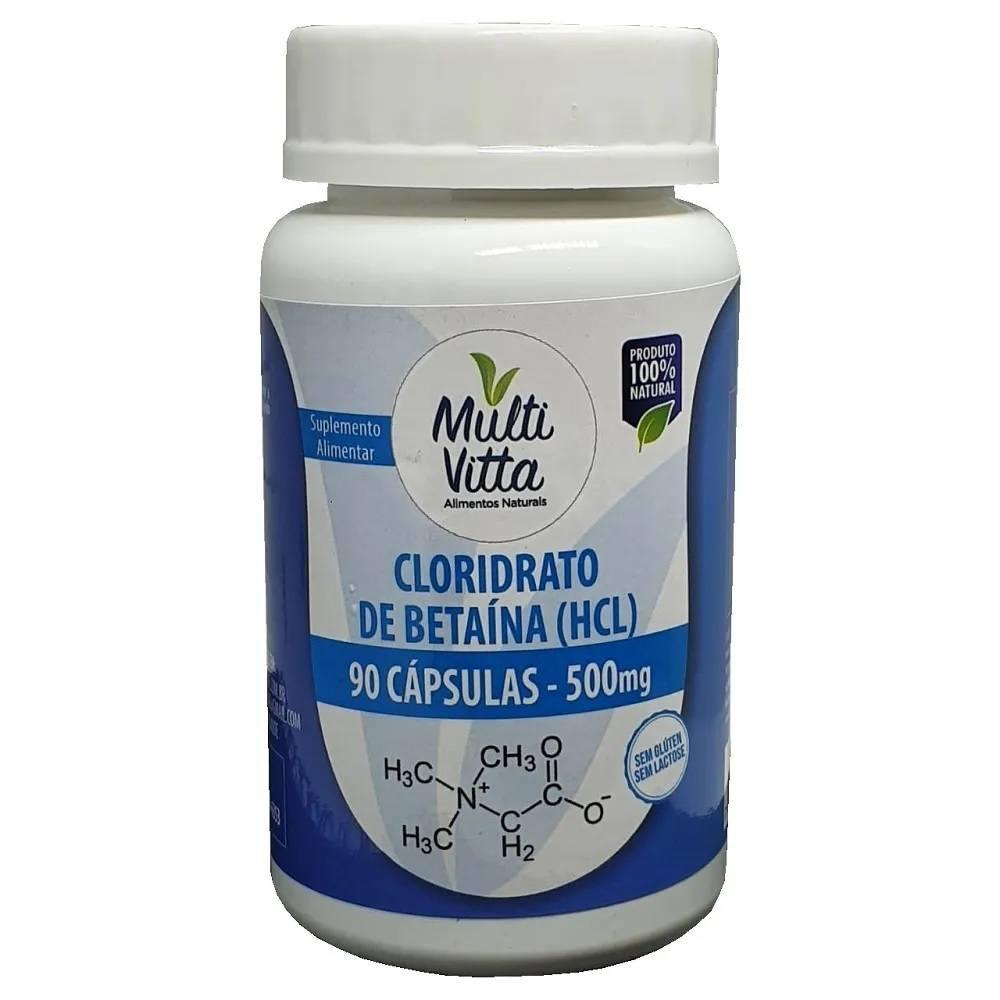 Cloridrato de Betaína HCL 500 mg 90 Cáps. Multivitta