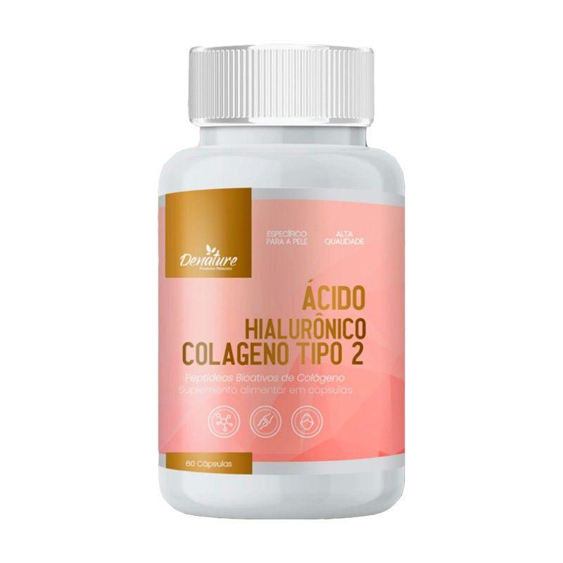 Colágeno Tipo 2 ácido hialuronico 500mg 100 capsulas com vitamina C Pele firme Fortalecimento articulações - Denature