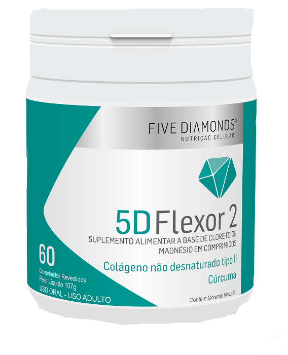 Colágeno Tipo 2 + Magnésio + Cúrcuma 60 Comp - Five Diamonds