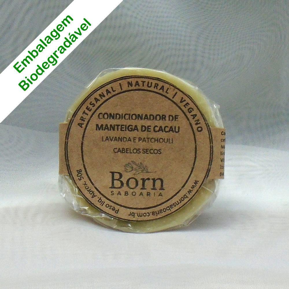 Condicionador em barra Natural e Vegano - Manteiga de Cacau - Cabelos Secos - Born Saboaria