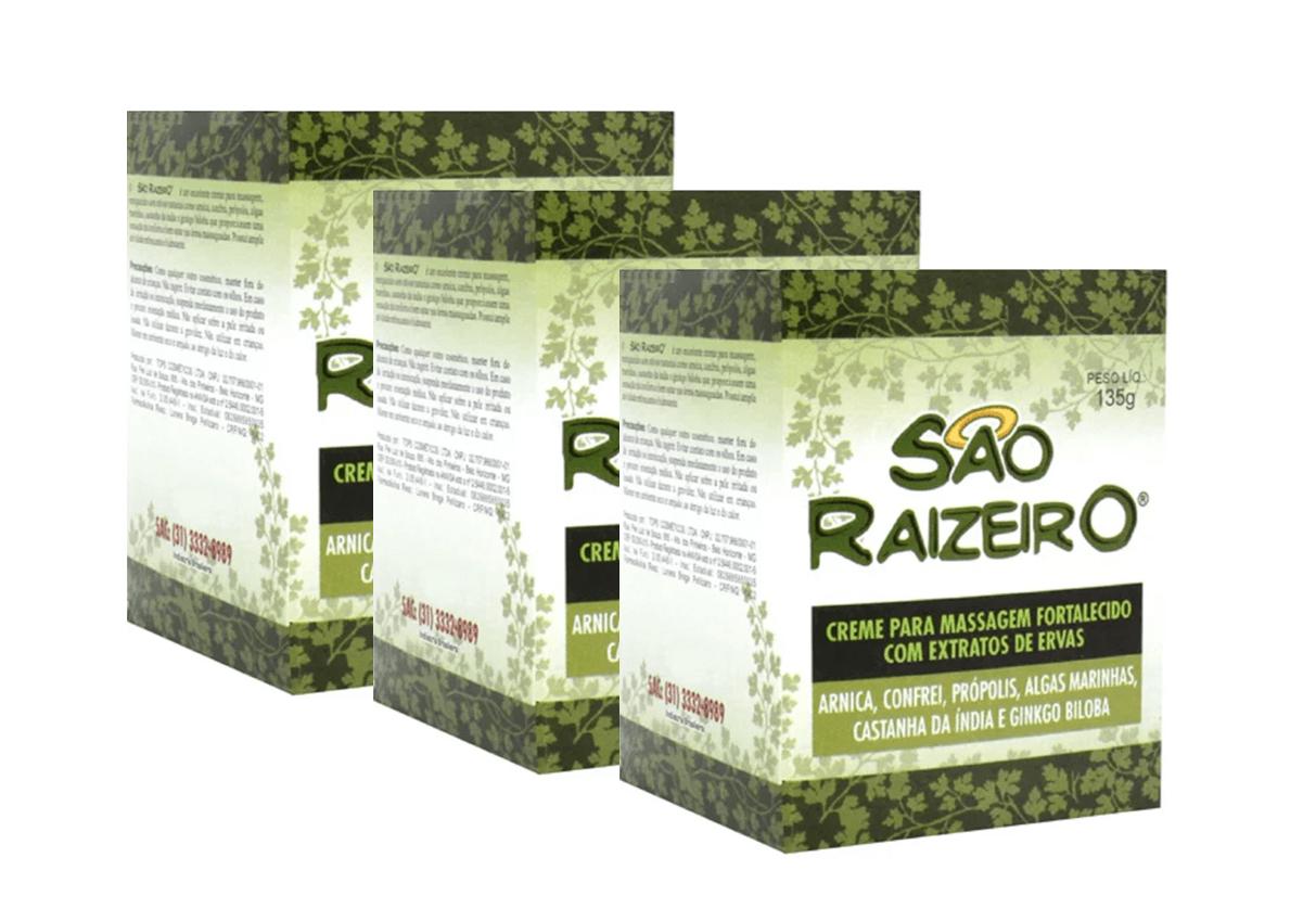Creme Para Massagem São Raizeiro 135g Kit Com 3