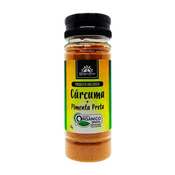 Cúrcuma com Pimenta Preta 1 pote 70g Orgânica e Certificado