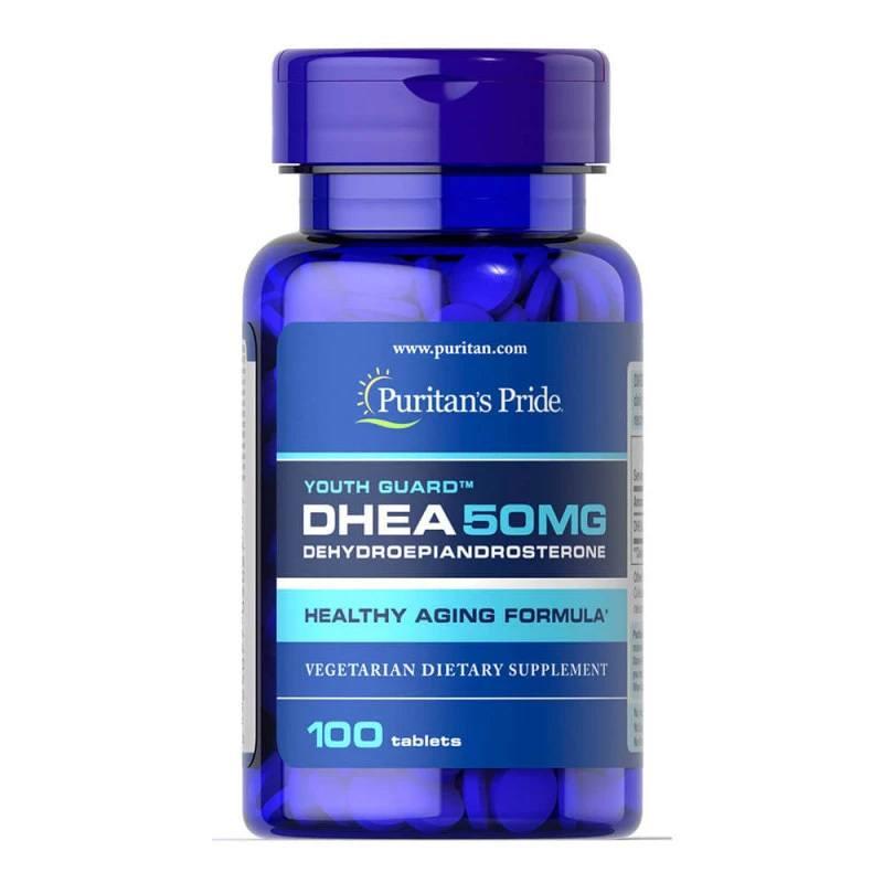 DHEA 50mg Puritans Pride 100 cápsulas gera saude previne doenças rejuvenescimento massa muscular