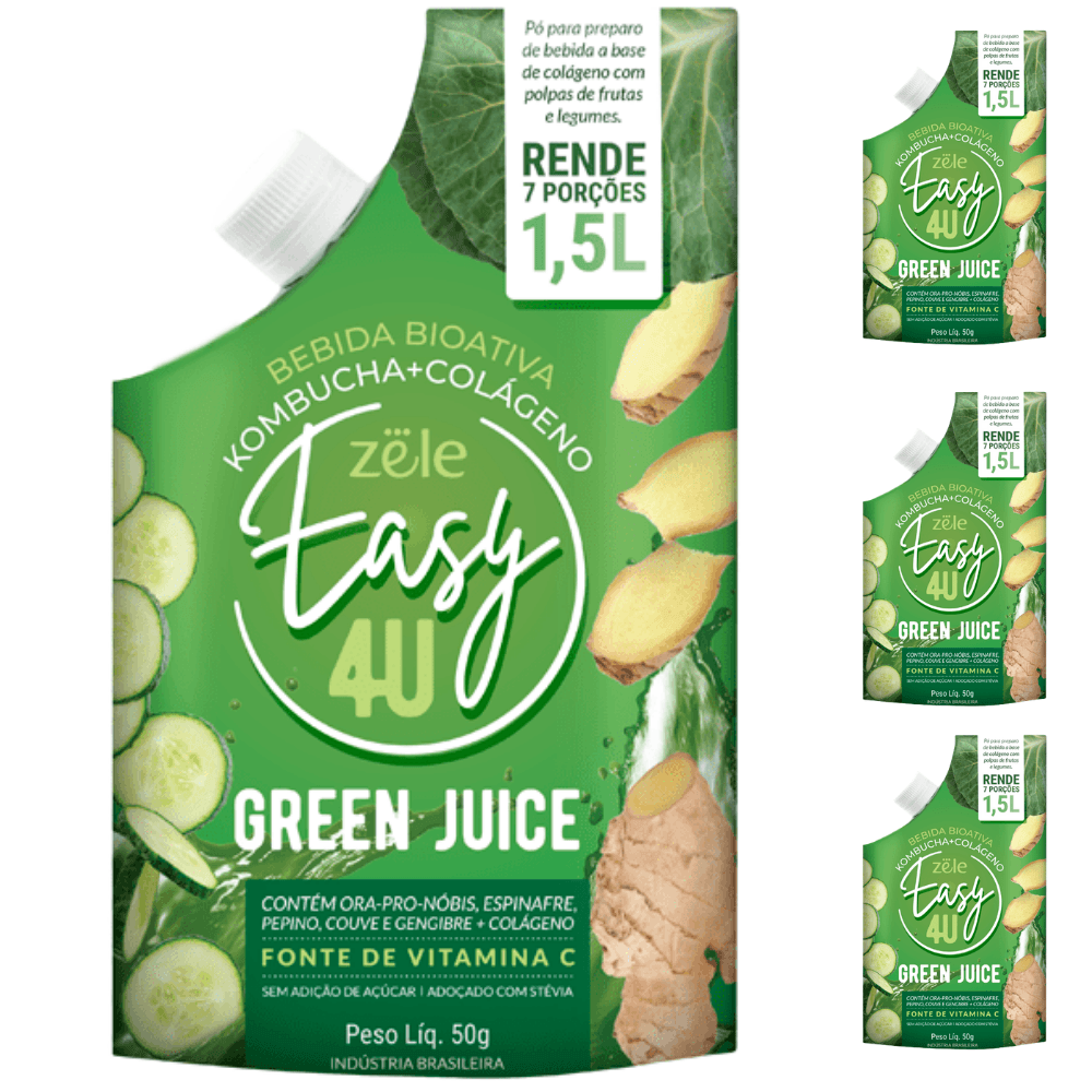 Easy4U Green Juice Bebida Kombucha 3 und - cada 50g faz 1,5L