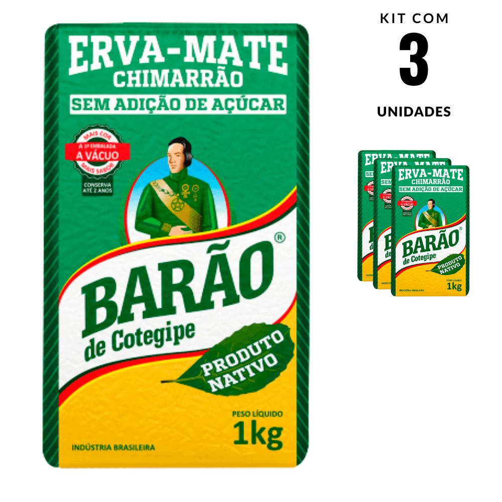 Erva Mate Nativa o melhor Chimarrão Barão Cotegipe 3 und 1kg