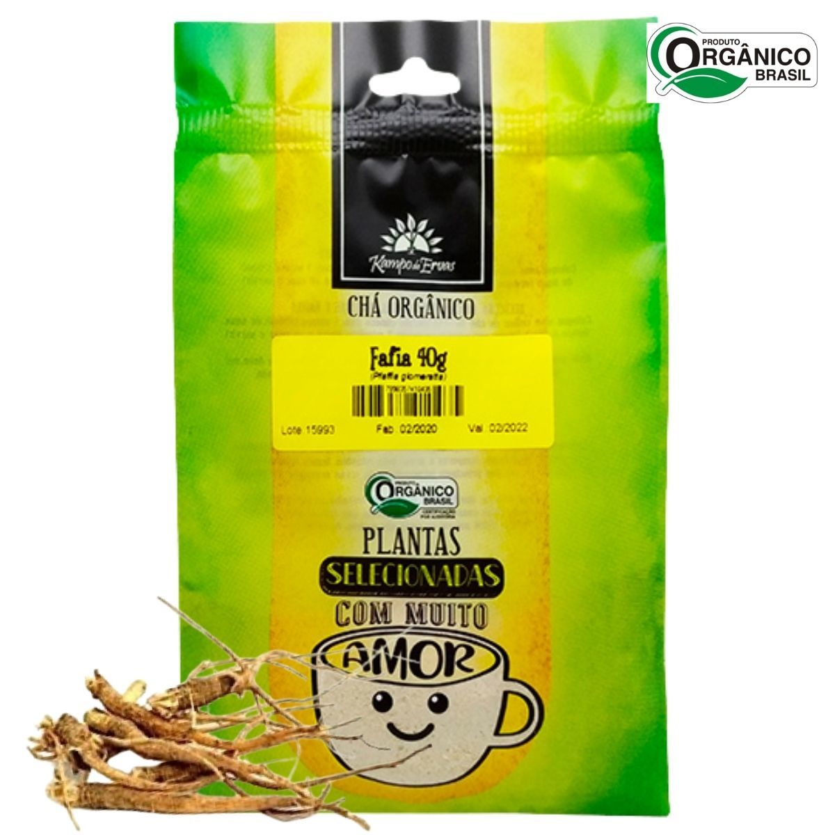 Fáfia Chá Orgânico em pó das Raízes Kampo de Ervas 40 gramas