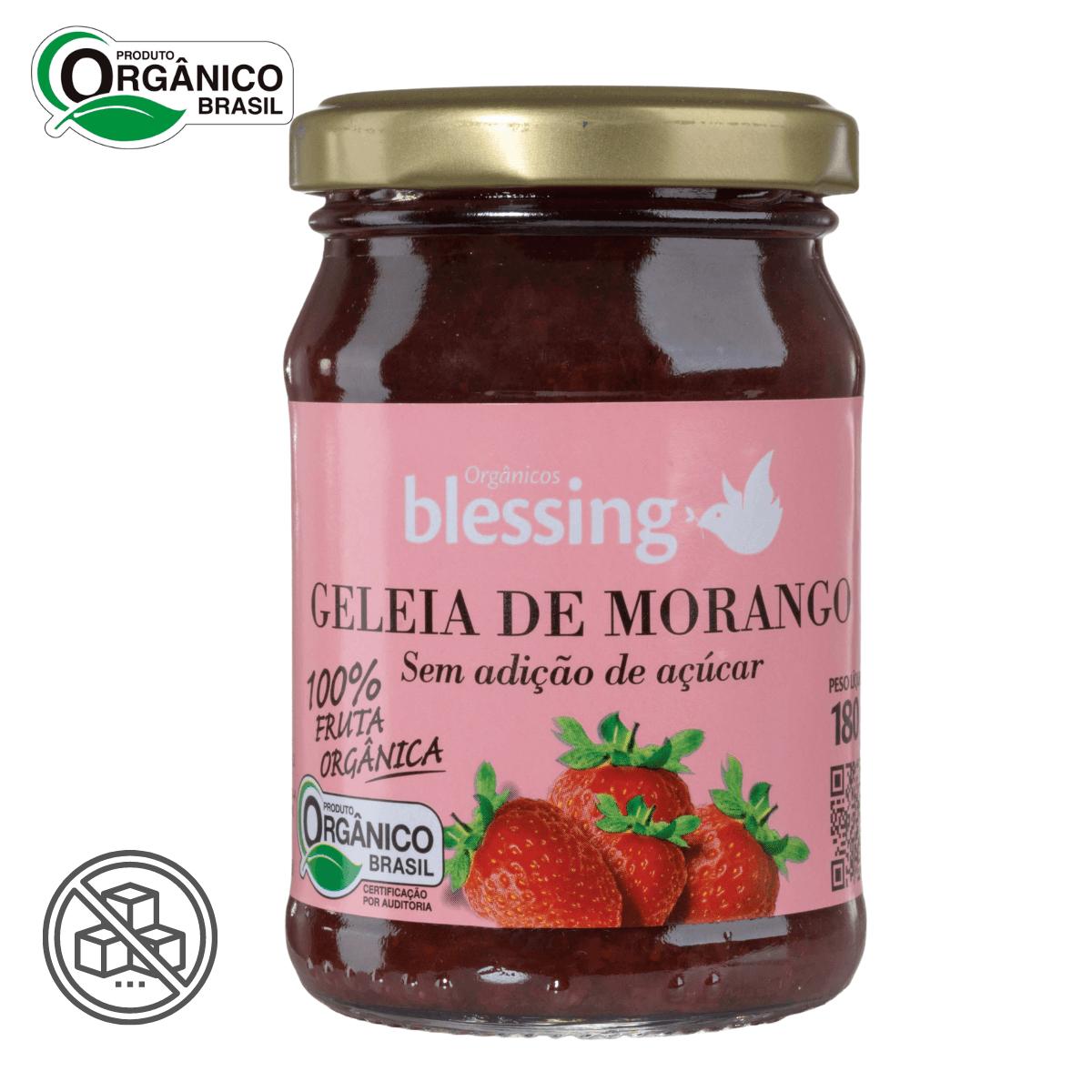 Geleia de Morango Orgânica sem açúcar Blessing 180 gramas
