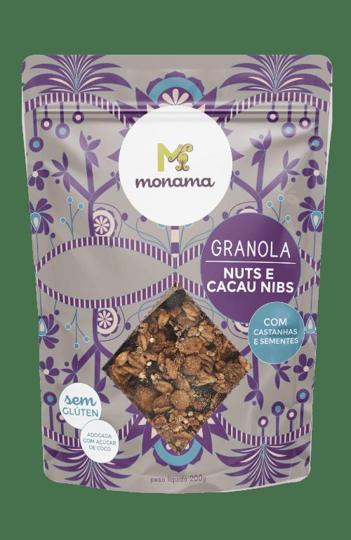 Granola Nuts E Cacau Nibs 200g - Monama