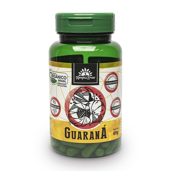 Guaraná Orgânico 90 Cápsulas de 450 Mg Kampo de Ervas