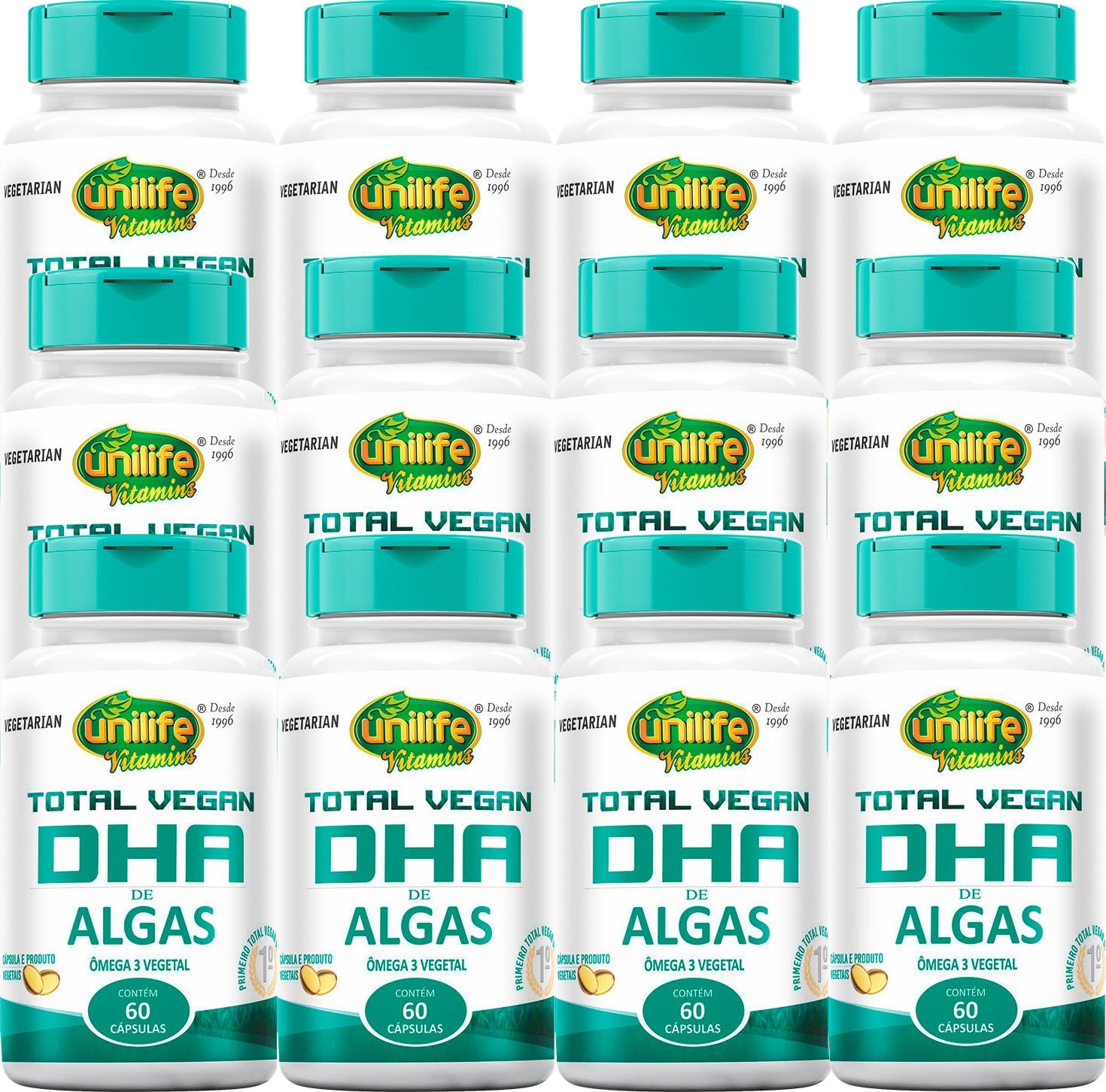 Kit 12 Un Ômega 3 DHA De Algas 100% Vegano 700 mg 720 Caps