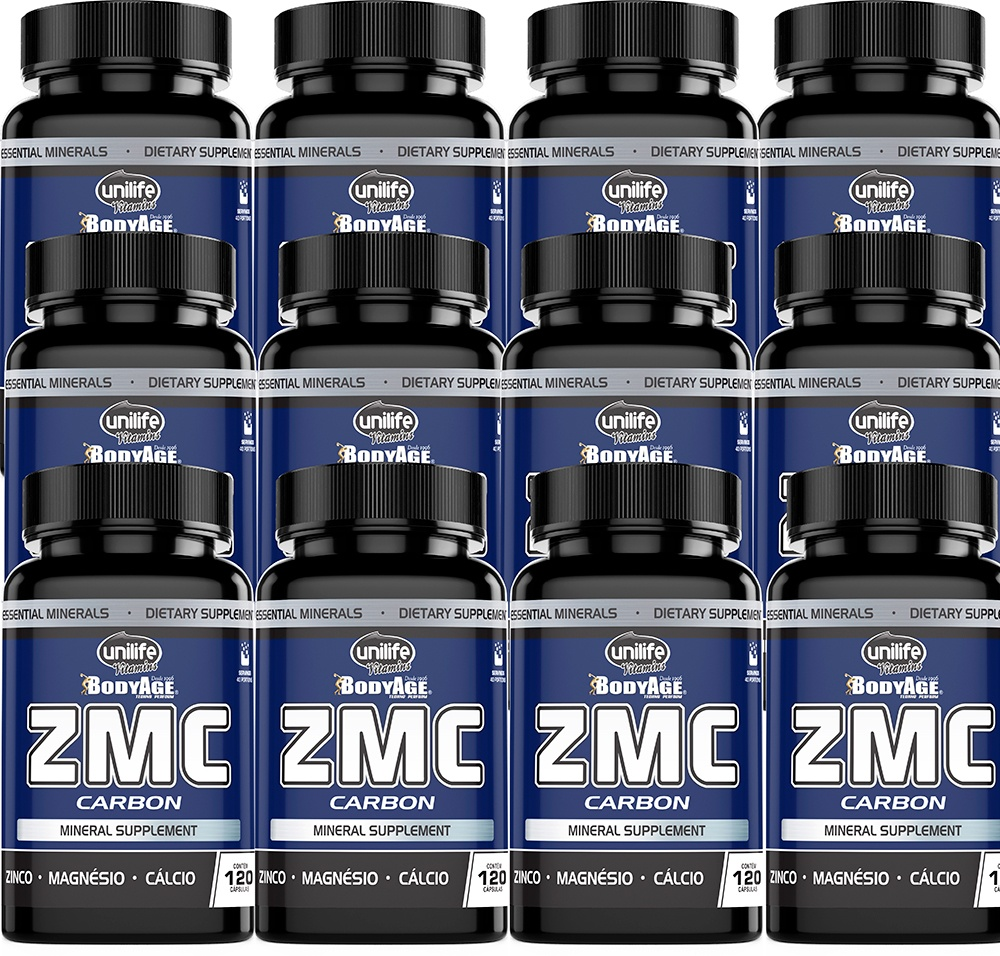 Kit 12 Un. ZMC Carbon Zinco Magnésio Cálcio 950mg 1440 Caps