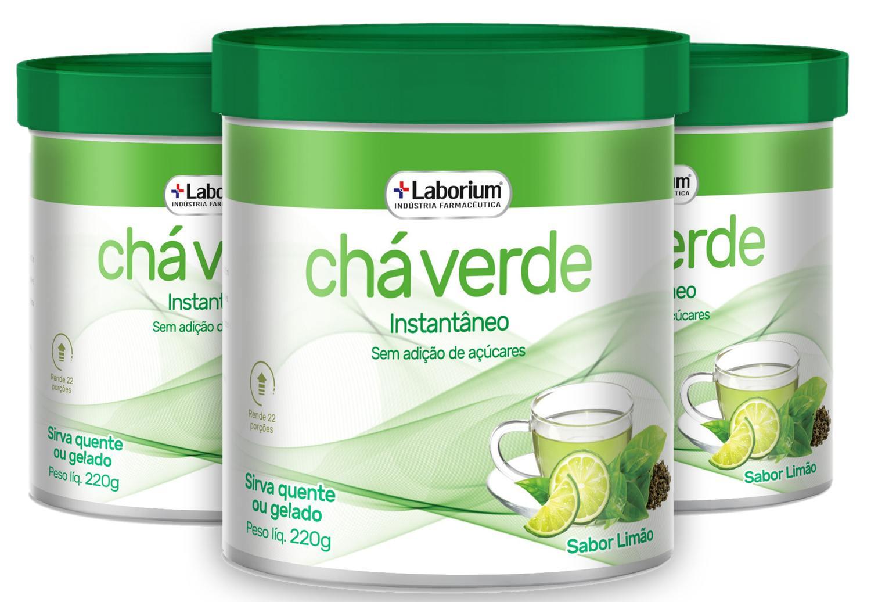 kit 3 Chá Verde Instantâneo - Taurina/ Stévia 220g - Laborium