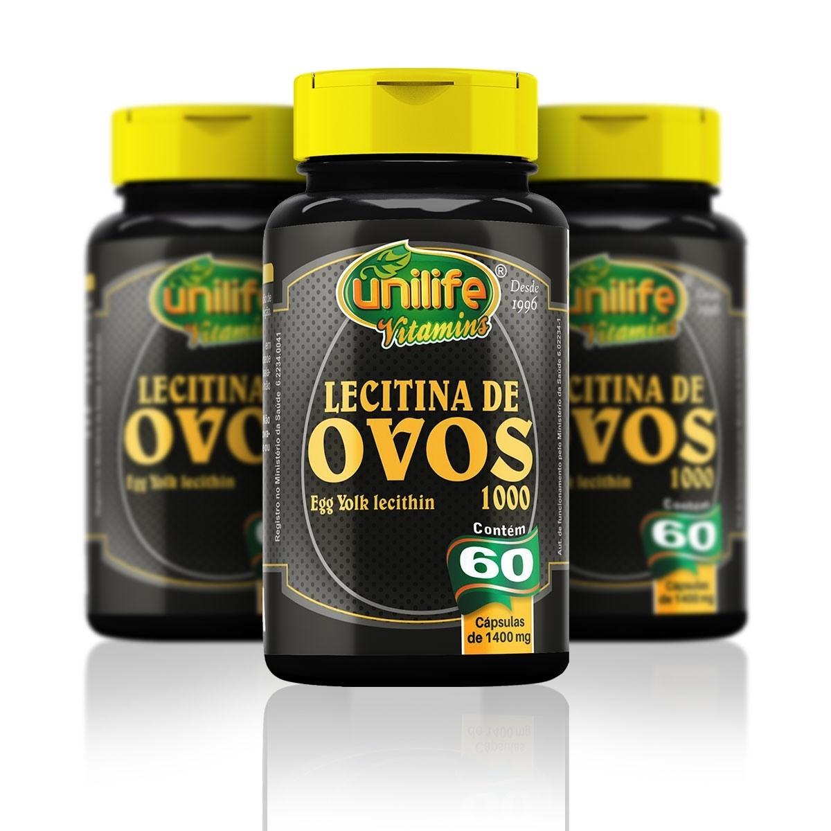 KIT 3 Lecitina de Ovos 60 cápsulas - Unilife