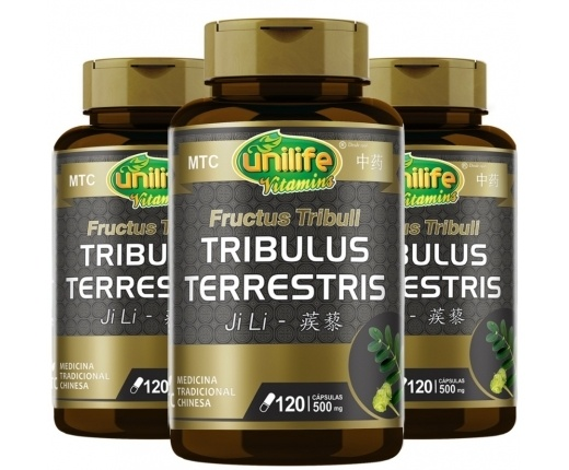 kit 3 Tribulus Terrestris - JI LI 500mg - MTC - 120 cap Unilife