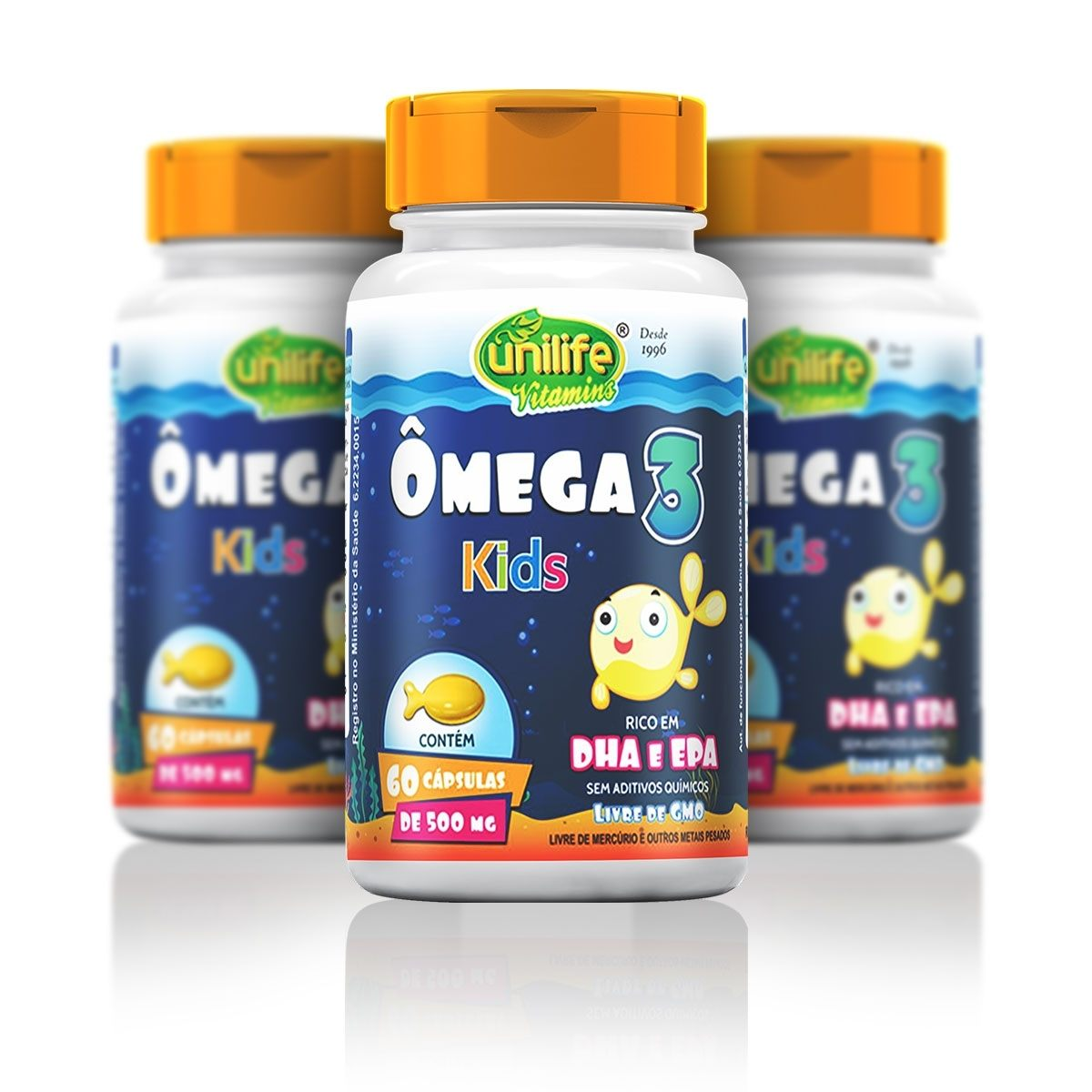 Kit 3 Unidades de Ômega Kids 500mg 60Caps cada Unilife