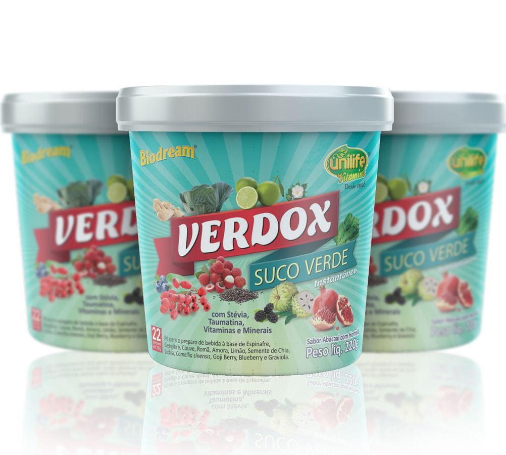 Kit 3 Verdox Instantâneo Unilife 220g (Suco Verde,Antigo Detox) Unilife