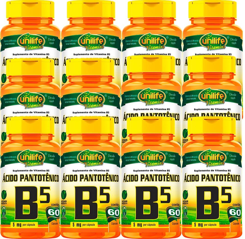 Kit C/ 12 Un. Vitamina B5 Ácido Pantotênico 720 Caps Vegano