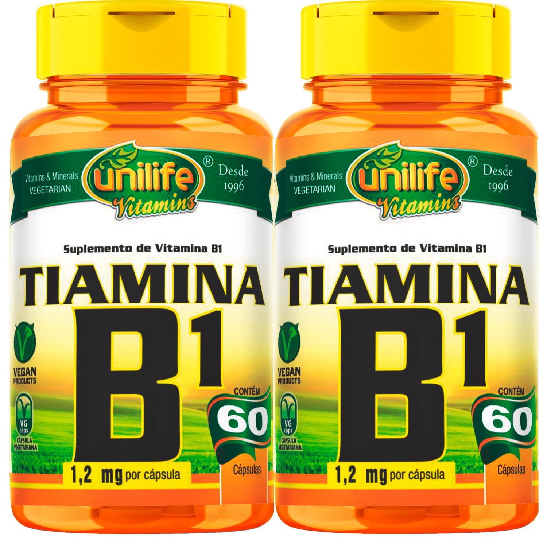 Kit C/ 2 Un Vitamina B1 Tiamina 500mg 120 Caps Vegan Unilife