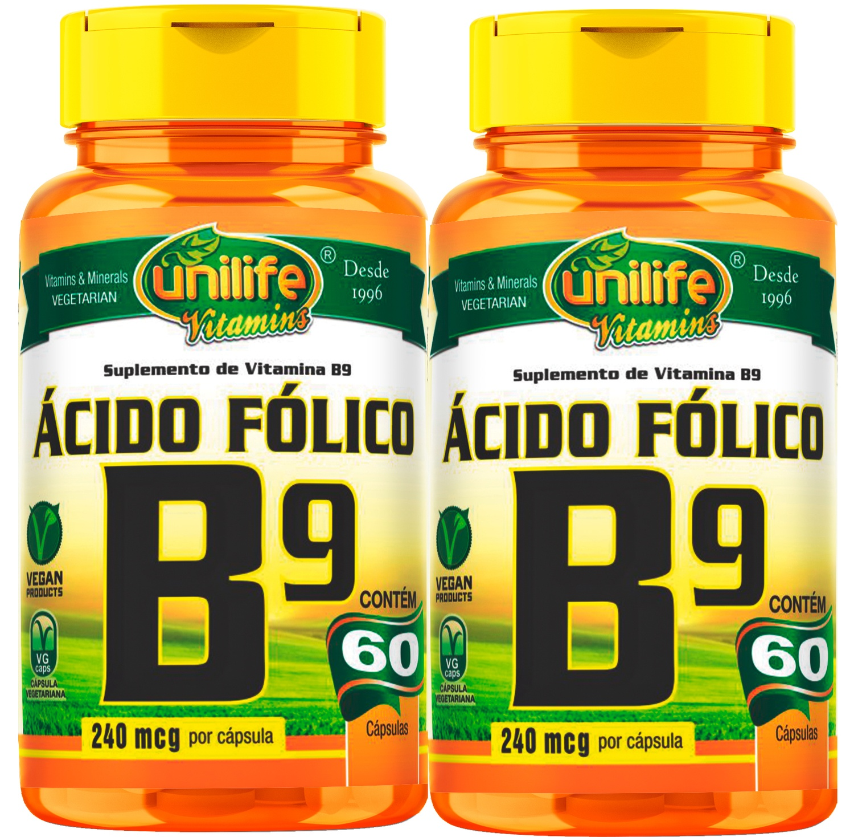Kit C/ 2 Un. Vitamina B9 Ácido Fólico 500mg 120 Caps Vegano