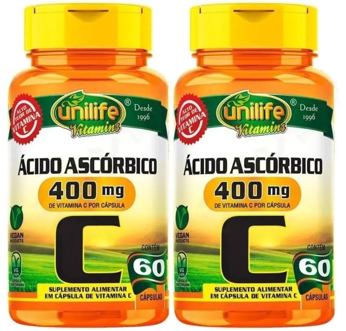 Kit C/ 2 Un. Vitamina C Pura Ácido Ascórbico 750mg 120 Caps