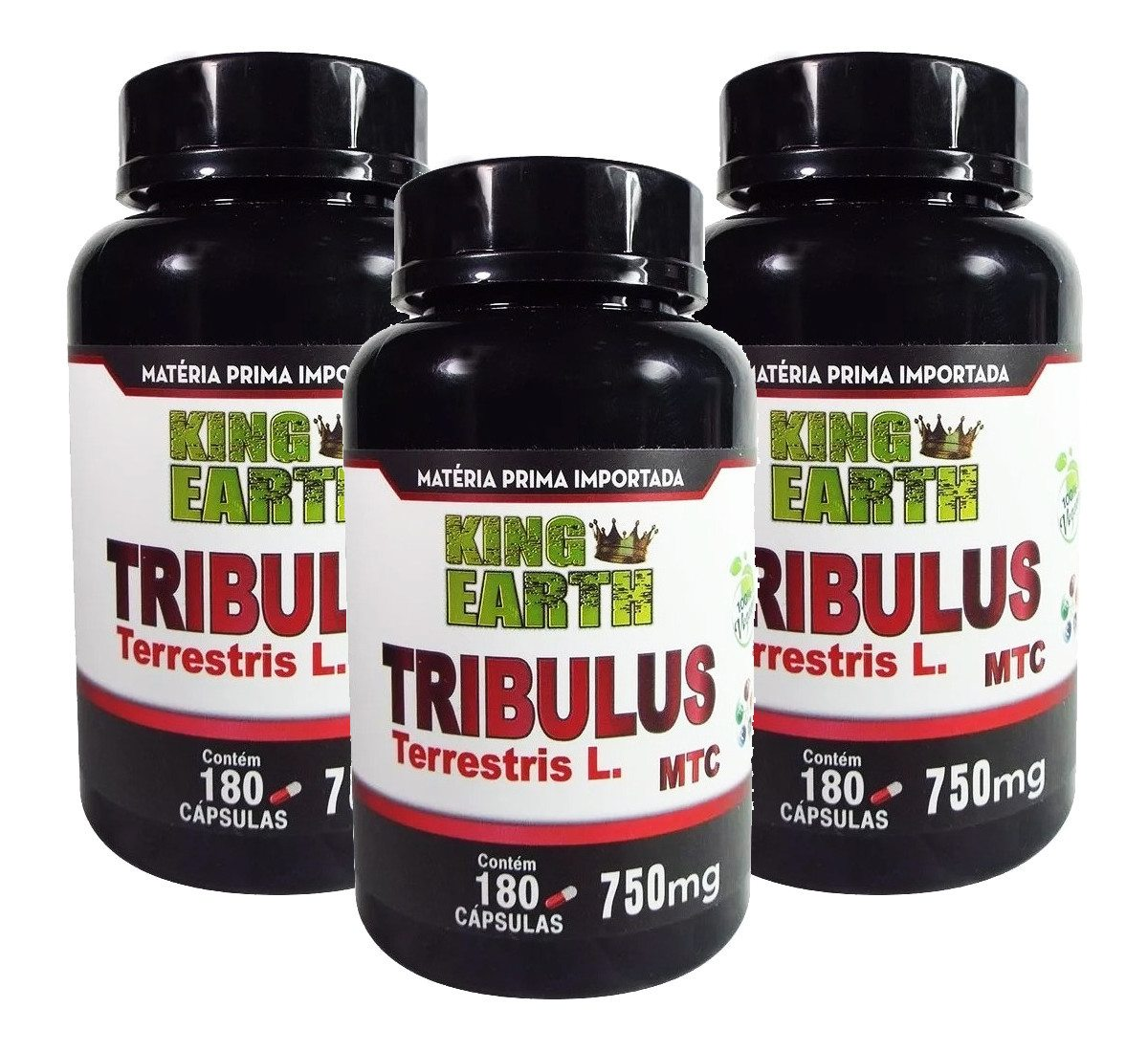 Kit C/ 3 Un Tribulus Terrestris L. 750mg 540 Cáps King Earth