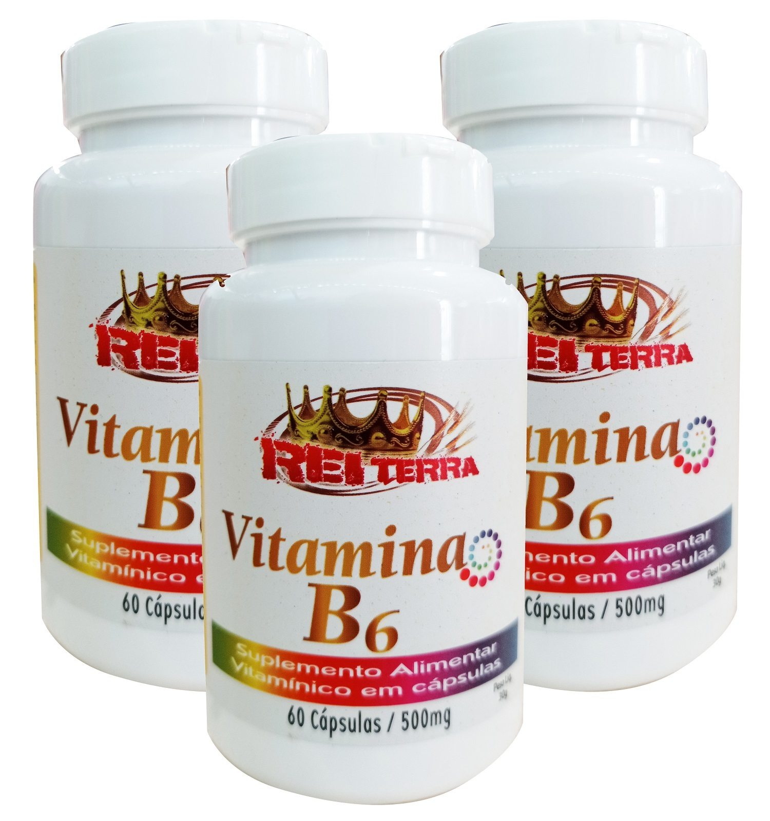 kit C/ 3 Un. Vitamina B6 180 Cápsulas 500 mg