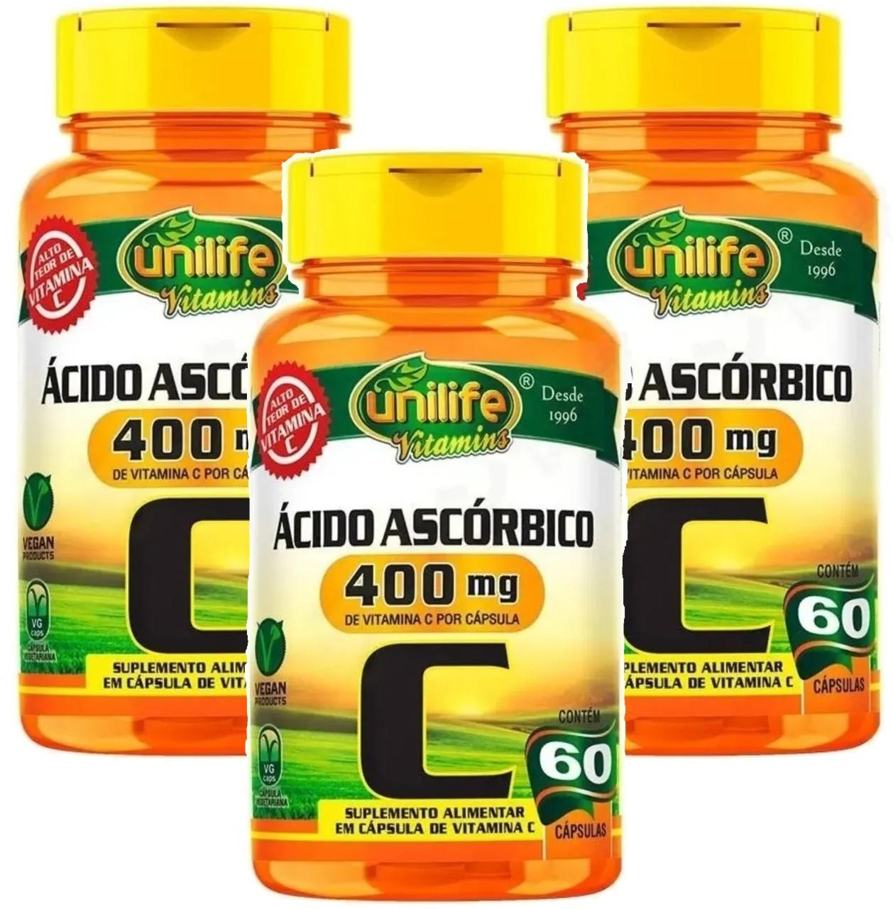 Kit C/ 3 Un. Vitamina C Pura Ácido Ascórbico 750mg 180 Caps