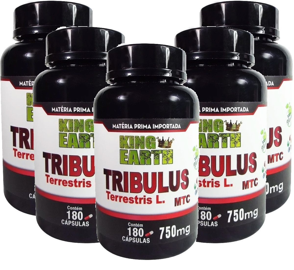 Kit C/ 5 Un Tribulus Terrestris L. 750mg 900 Cáps King Earth