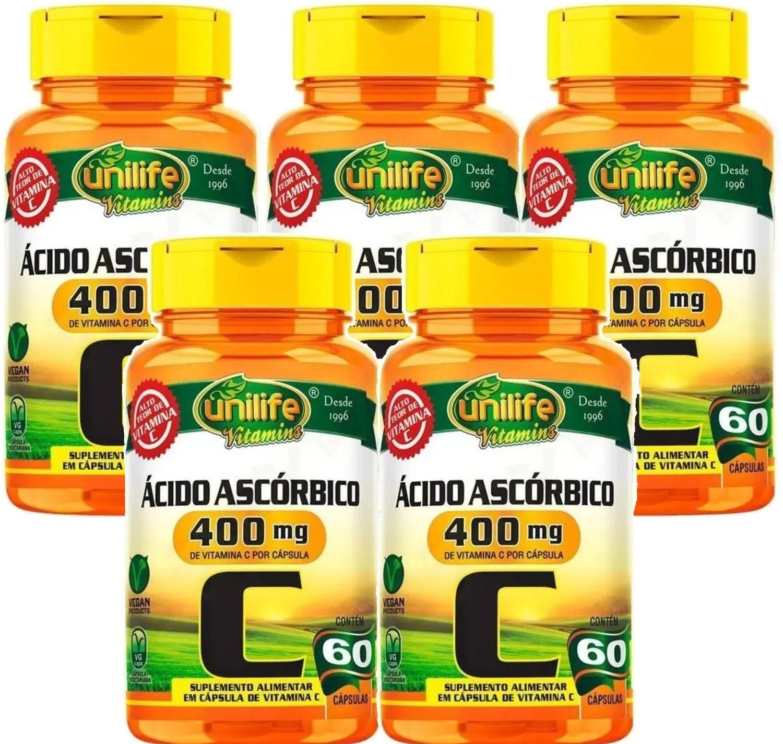 Kit C/ 5 Un. Vitamina C Pura Ácido Ascórbico 750mg 300 Caps
