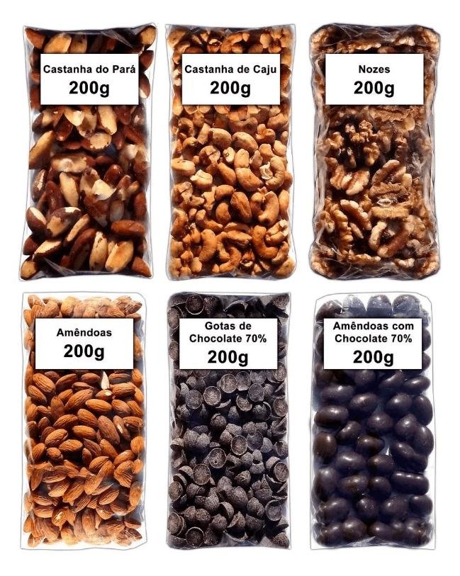 Castanha Do Pará/Caju/Amêndoa/Nozes/Chocolate 70% Cacau Sem Glúten e Lactose