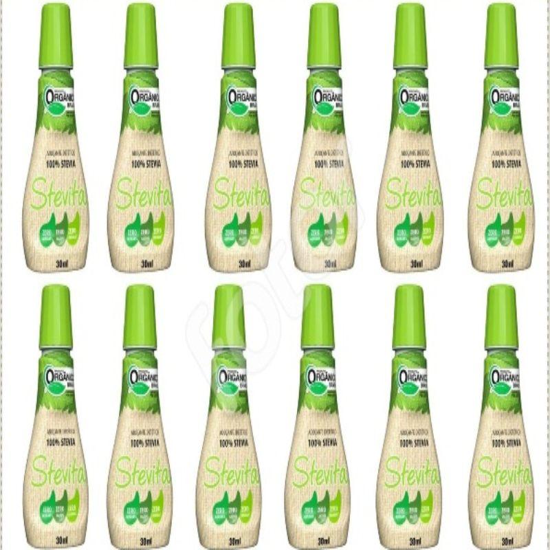 Kit Com 12 Adoçantes Dietético Orgânico 100% Natural – 30Ml