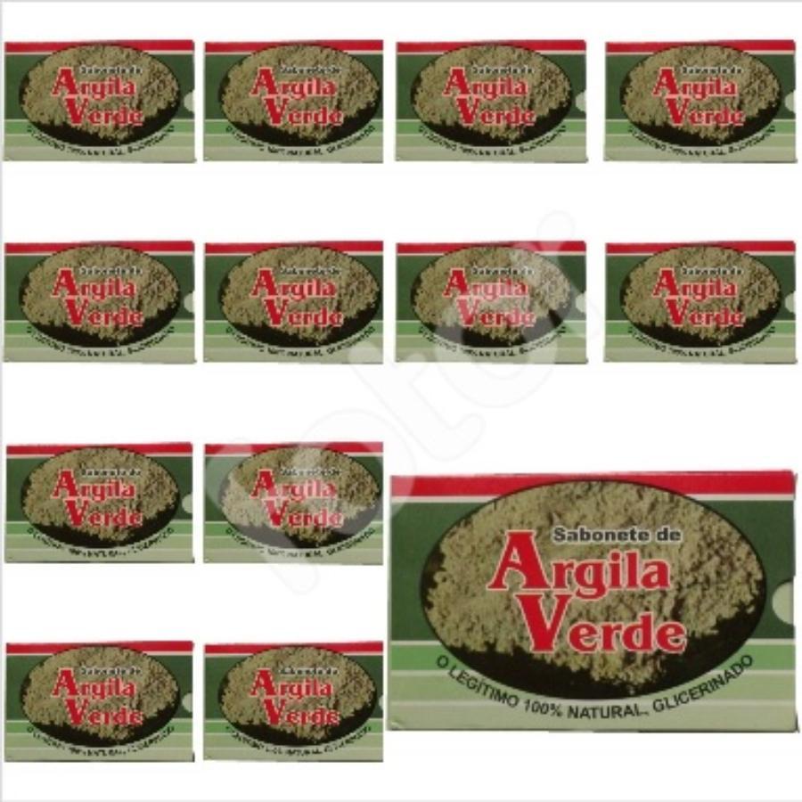 Kit Com 12 Sabonetes De Argila Verde - 100% Glicerinado
