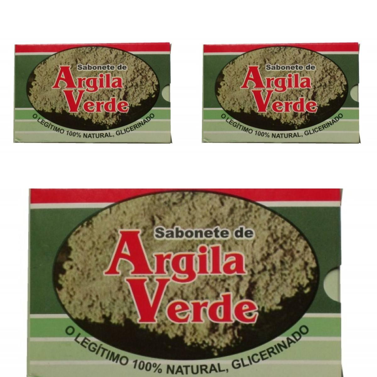 Kit Com 3 Sabonetes De Argila Verde - 100% Glicerinado
