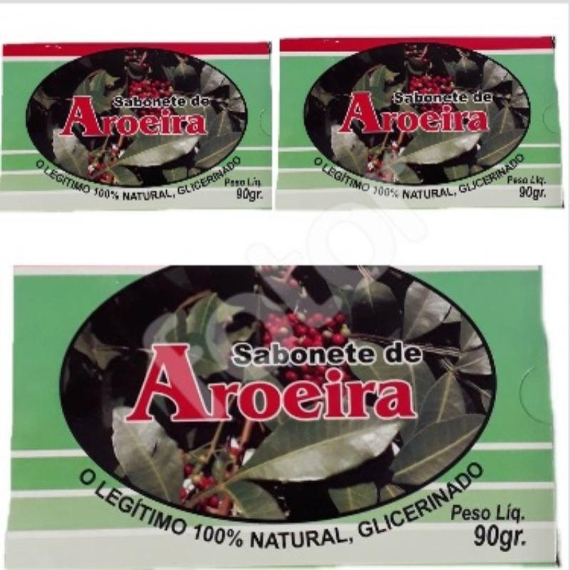 Kit Com 3 Sabonetes De Aroeira  - 100% Glicerinado - 90Gr