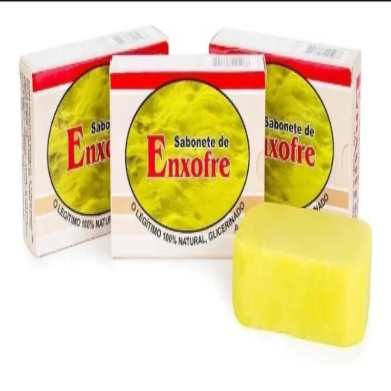 Kit Com 3 Sabonetes De Enxofre - 100% Glicerinado - 90Gr