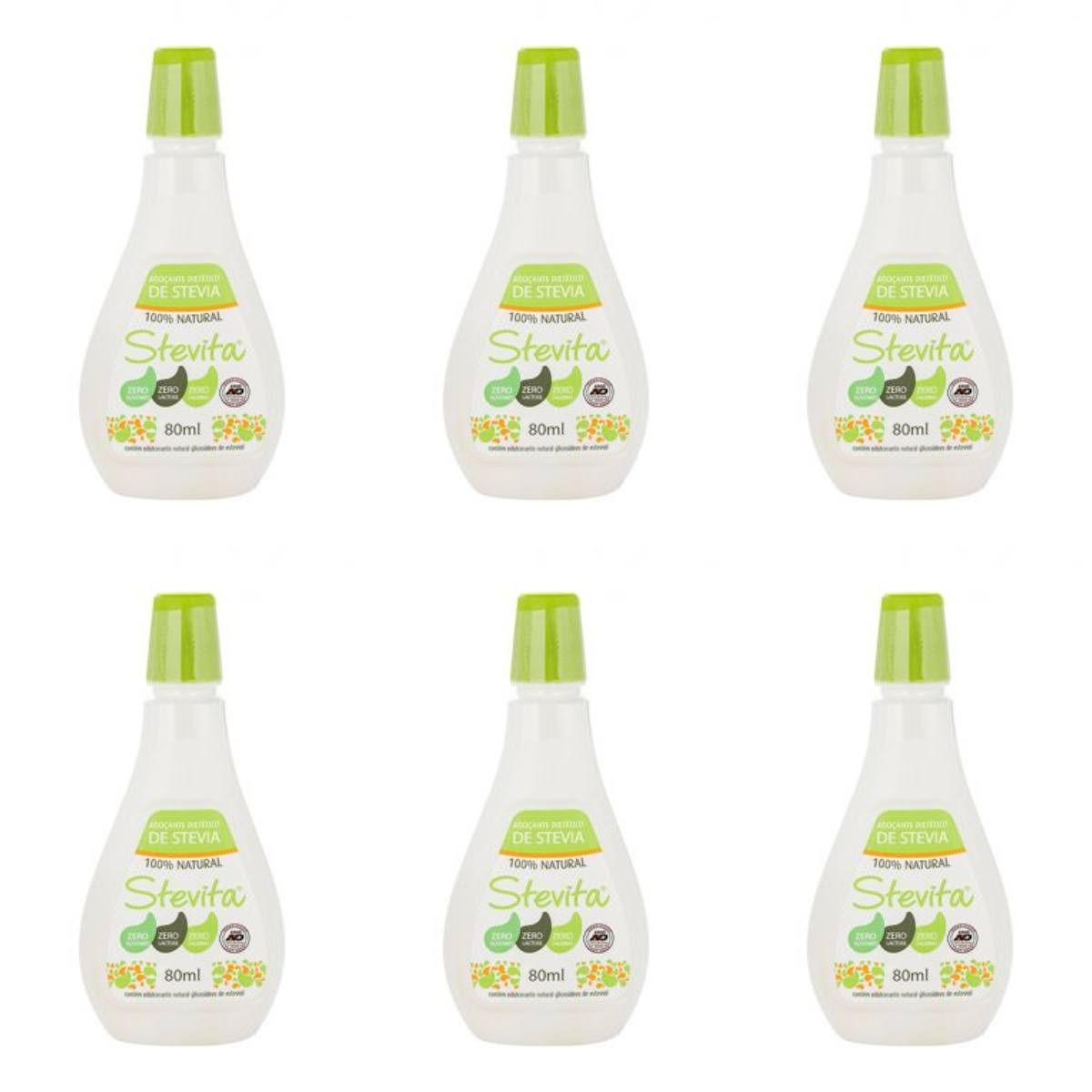 Kit Com 6 Adoçantes Dietético Stevita – 100% Natural – 80Ml
