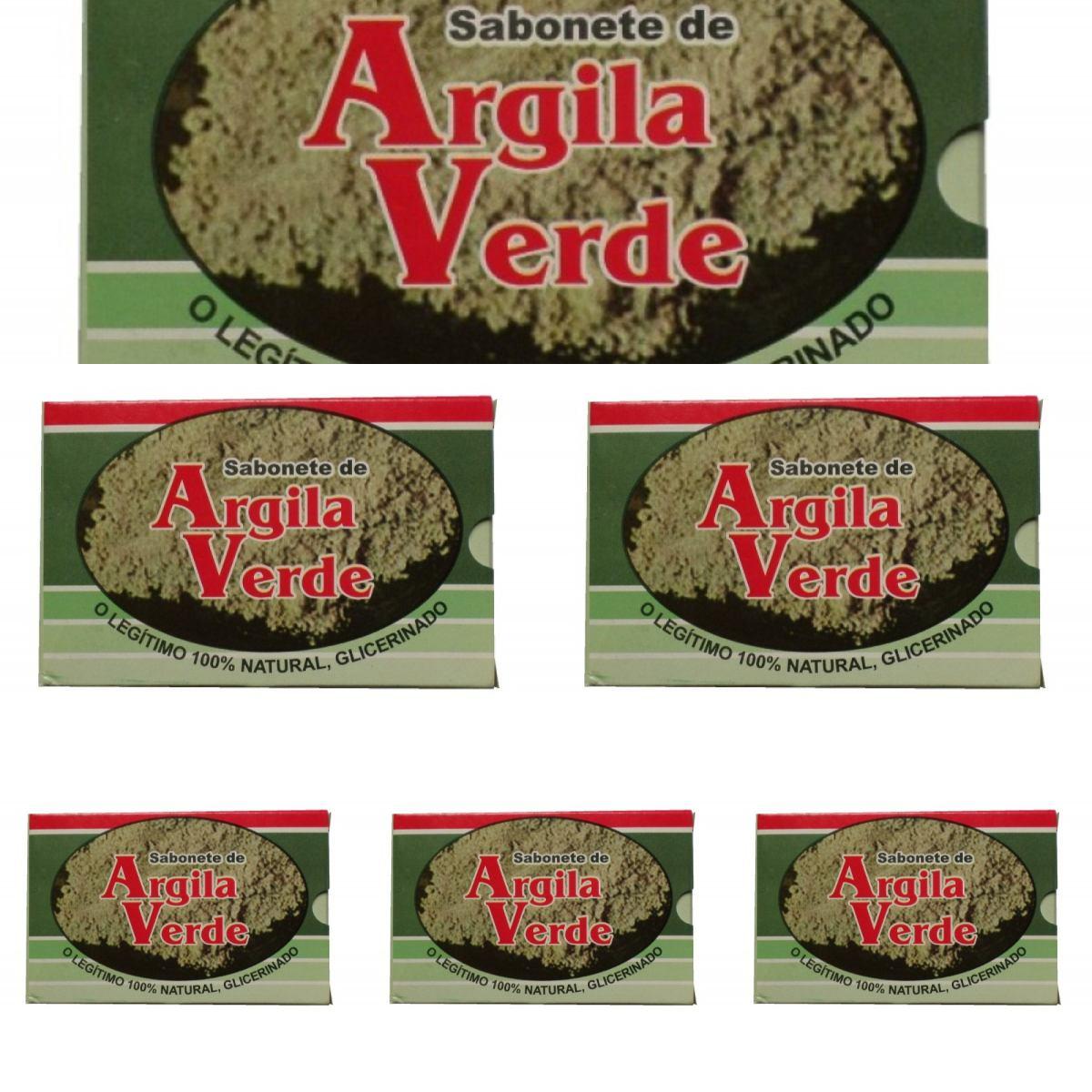 Kit Com 6 Sabonetes De Argila Verde - 100% Glicerinado