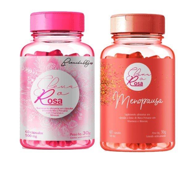 Kit Suplemento Alimentar 1 Eleva o Rosa e 1 Eleva o Rosa Menopausa