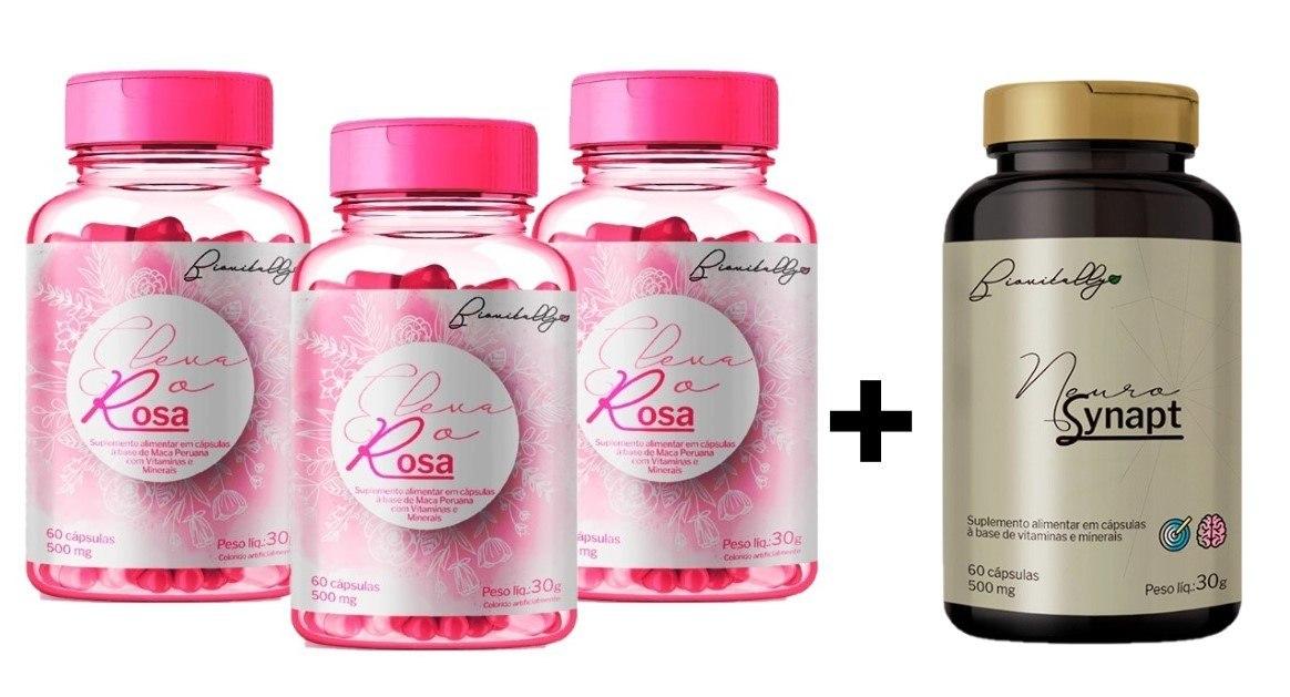 Kit Suplemento Alimentar 3 un Eleva o Rosa e 1 un Neurosynapt