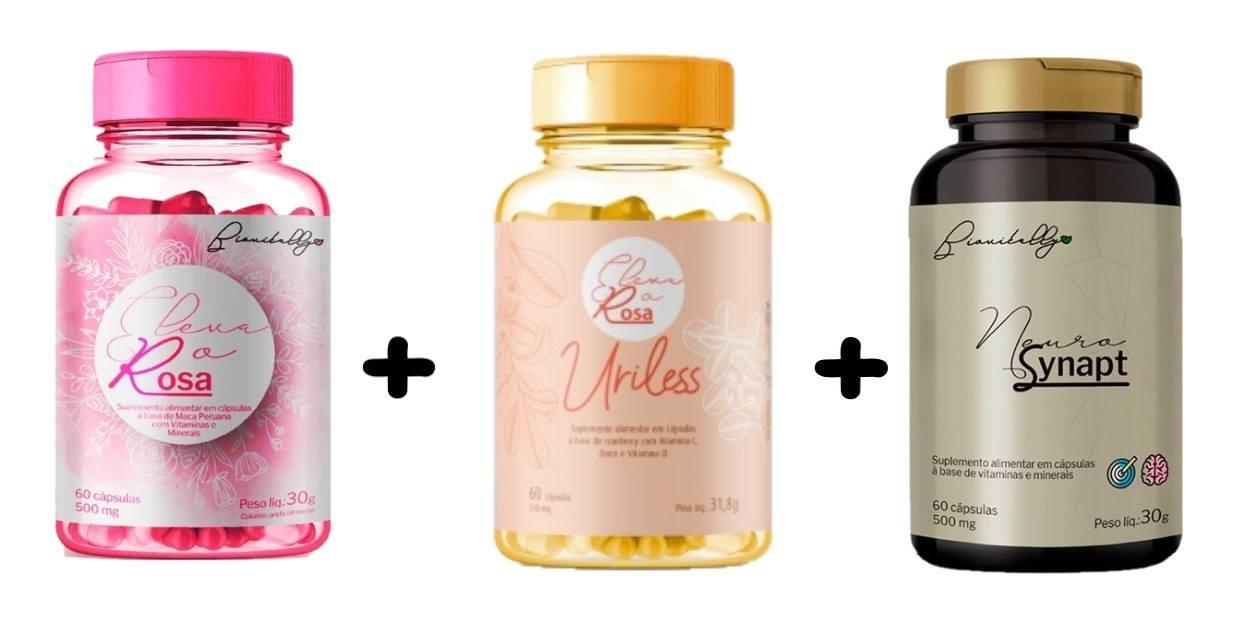 Kit Suplementos Alimentares 1 Eleva o Rosa, 1 Uriless e 1 Neurosynapt