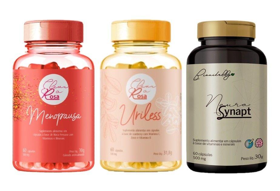 Kit Suplementos Alimentares 1 Eleva o Rosa Menopausa, 1 Uriless 1 Neurosynapt
