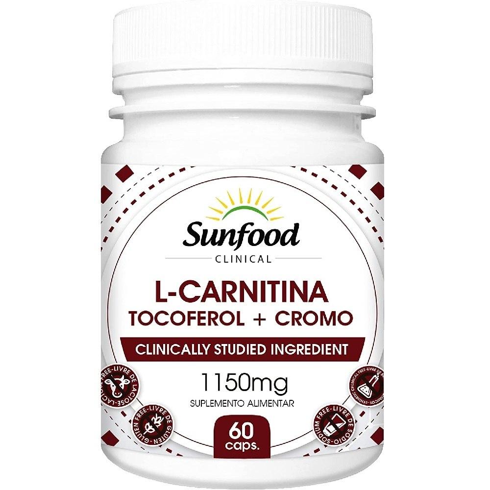 L-Carnitina Vitamina E Cromo 1150 mg 60 Cáps. Sunfood