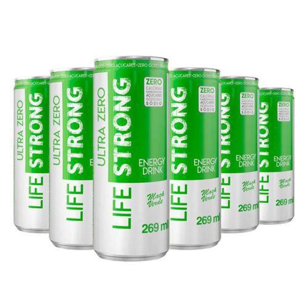 Life Strong Energy Drink Maça Verde Ultra Zero Pack 12 Unidades