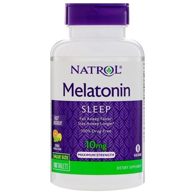 Melatonina 10mg 100 tabletes Dissolução Rápida Sabor Citrus – Natrol o melhor do mercado para tratar sua insônia e Jetlag