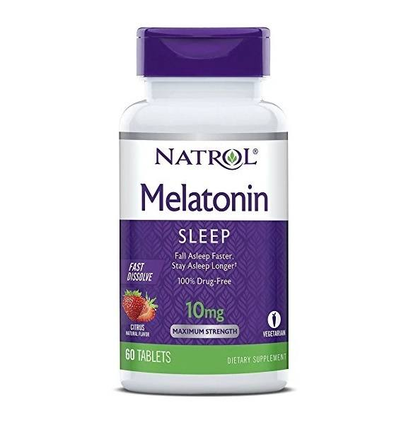 Melatonina 10mg FAST DISSOLVE Sublingual 60 Tabletes Sabor Morango NATROL