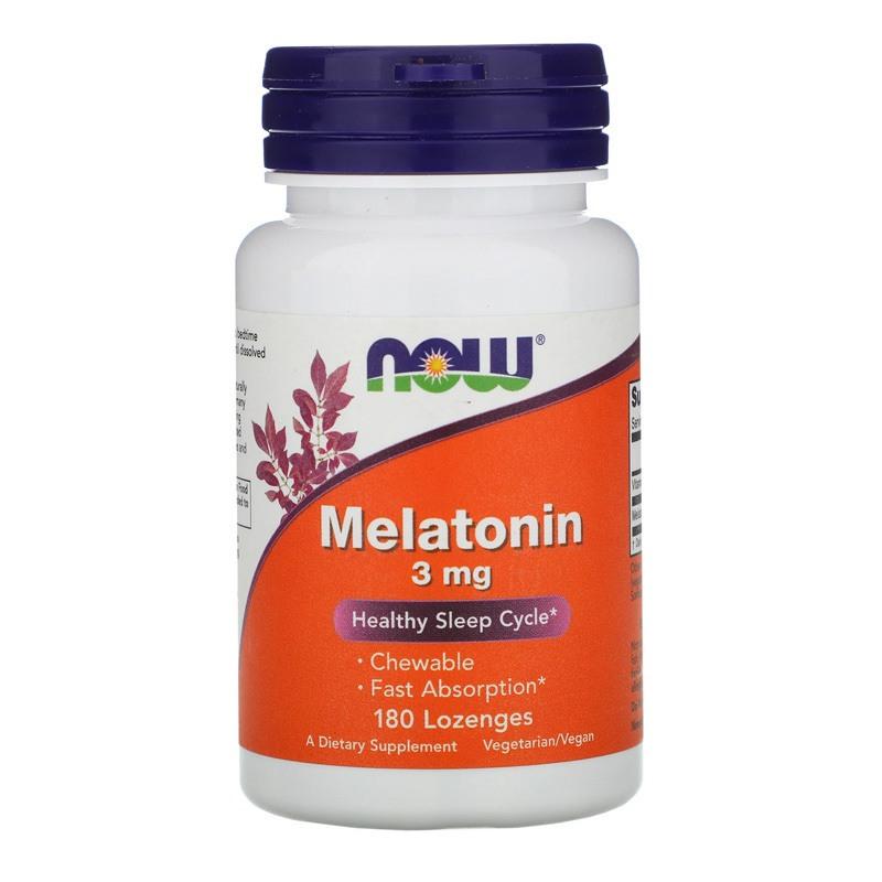 Melatonina 3mg 180 pastilhas Mastigáveis Lozenges Importado Eua Regula insonia - Now Foods