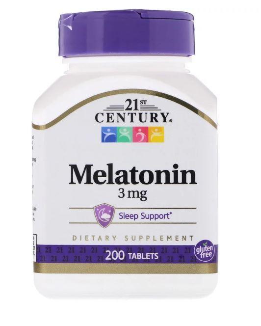 Melatonina 3mg 200 comprimidos Importado Eua, regula insonia - 21st Century