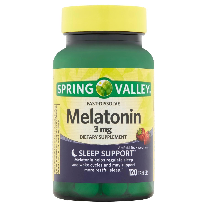 Melatonina 3mg Spring Valley 120 tablets mastigaveis Fast Dissolve sabor morango para controla insonia dormir bem