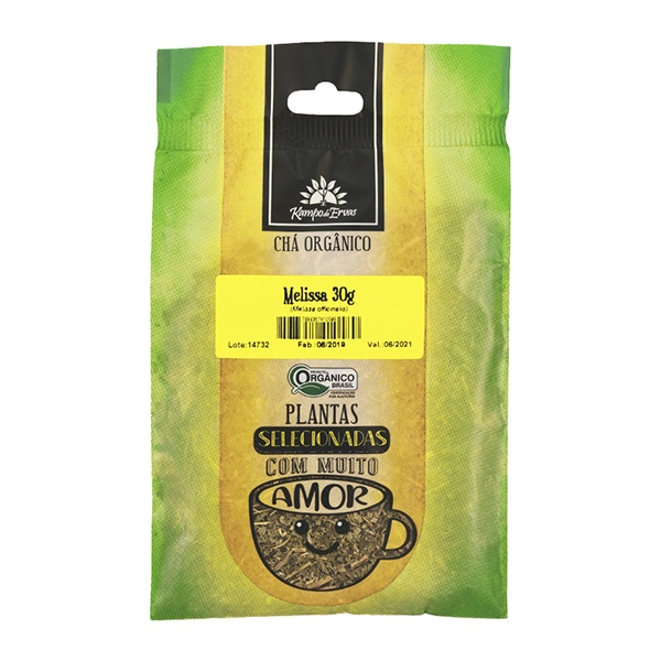 Melissa Chá Orgânico Kampo de Ervas Puro 100% Folhas 30 g